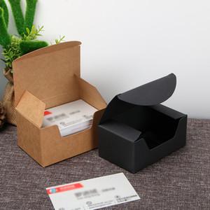 Black Brown Kraft Paper Box, Geschenk Kraft Visitenkarte Verpackungsbox Einzelhandel Verpackungsbox 93 * 57 * 40mm LX3282