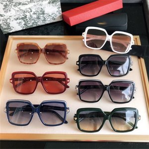 2021 New Large Frame Sunglasses Men's and Women's Color Film Leopard Head