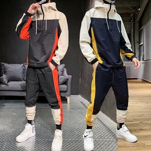 Men Tracksuit Fashion Hoodie Sweatpants Teengers Sports Suits Student Casual Sweatsuits Autumn Jogging Male Patchwork Sets