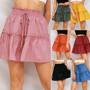 Skirts Women's Fashion Sweet Pure Color Lace High Waist Versatile Pleated Tight-fitting Lace-up Skirt Ladies Mini