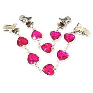 Herz Mantelgriffe Pullover Clips Frauen Kette Kristall Guards Rose Red Cape Cartigan Cinch Klemmen Brosche Schal Pins