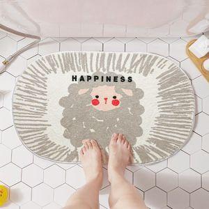 Carpets Sheep Soft Bathroom Anti Slip Mat Thickened Flocking Rug Home Decoration Entrance Door Bedroom Plush Fluffy Carpet
