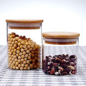 Бутылки для хранения JARS 1PC Высокая боросиликатная стеклянная банка герметичный прозрачный пищевой контейнер с бамбуковой крышкой для (450 мл)