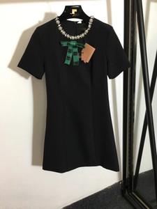 223 2021 Milan Style Vestido de pista Marca Mismo estilo vestido de manga corta Cuentas Nuevas cuentas Imperio Moda Vestido para mujer Faluolan