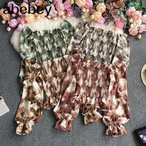 Women's Blouses & Shirts 2021 Spring Autumn Korean Slash Neck Long Sleeve Shirt Ruffles Patchwork High Waist Pleated Printed Short Top