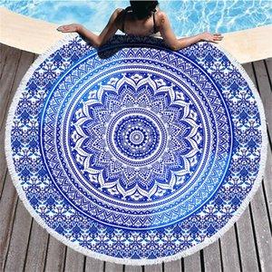 Mandala Plaj Havlusu 150 cm Yuvarlak Plaj Battaniye Havlu Kumaş Baskılı Masa Örtüsü Bohemian Goblen Yoga Mat Kapakları HWD4941