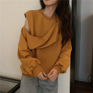 Fashion Design Off-the-shoulder Women Sweatshirts 2021 Hip Hop Spring Summer Long Sleeve Sweatshirt Ladies Tops Womens Clothing
