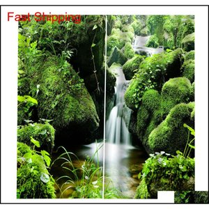 Green Scenery Waterfall 3d Curtains Window Blackout Luxury 3d Curtains Set For Bed Room Living Room B jllJBm bdedome