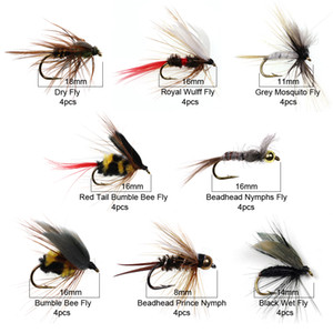 Форель Icerio 32PCS / Box Fly Flaby Insorded Tries Kit Nymph сухие мокрые мухи Рыбацкая муха приманки Bait C0222
