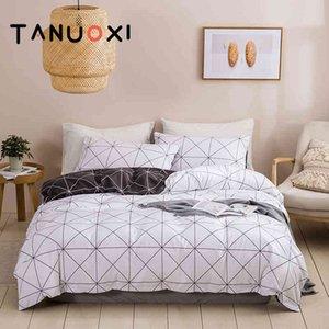2 3pcs Germany Plain texture Geometric Grid Stripe Duvet Cover Pillowcases Queen King Size Soft Bedding Set No Filling Bed Sheet
