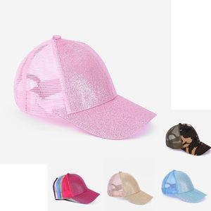 Sequin Meisai Solid Gold Ponytail Mesh Kids Hat 7 New styles Baseball Net Cap Newest Street Outdoor Sports Tide Sun Hat 52cm hood