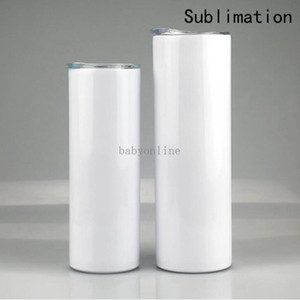 DHL Ship Sublimation Blank Tumbler Stainless Steel Tumblers Water Bottle Car Cup With Lid Straws Coffee Mug Wine Glasses Drinkware