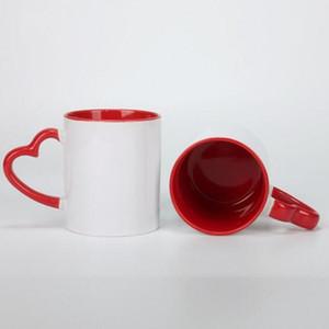 Tasse céramique de sublimation bricolage 11oz avec poignée de coeur 320 ml de tasses en céramique blanche avec revêtement intérieur coloré Bouteille d'eau spéciale Poterie de café