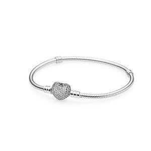 Otantik 925 Ayar Gümüş Kalp Charms Bilezik için Pandora Avrupa Boncuk Bileklik Düğün Hediye Takı Orijinal Kutusu Ile Kadınlar Için