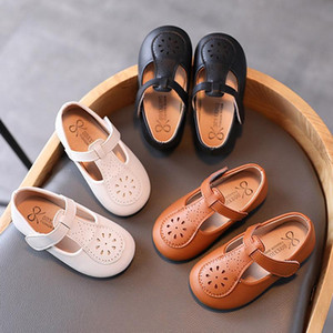 Плоские туфли 2021 стиль детей T ремень девочек девочки девочки черные красивые ботинки для детей, резьба Мэри Джейн малыш малыш