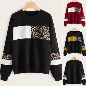 2021 Chaoren women's leopard pattern splicing Pullover round neck loose women's sweater hoodies