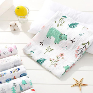Muslin Baby Swaddle Blanket Soft Gauze Newborn Wraps Double Layer Infant Bath Towel Children Sleepsack Stroller Cover Play Mat 37 Style 6461