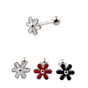 Fashion Cute Black White Red Flowers Tongue Rings Tongue Studs 14g Titanium Steel Barbell Ring Nipple Body Piercing Jewelry Women Gift