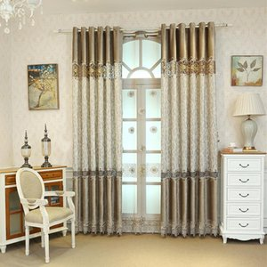 Curtain & Drapes Post-modern Luxury Stitching High-quality Velvet Curtains For Living Room And Bedroom Warm Color Decoration Plush