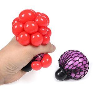 Giocattolo di decompressione 6 cm colorato maglia Squishy uva anti palle spremere ansia ventilazione DHL stress Doni dei bambini