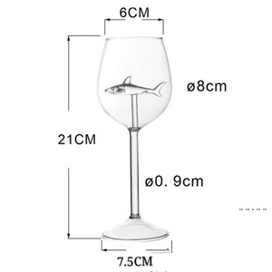 Fashion Standing Cups Shark Originality Transparent Elegance Long Stemmed Glasses Woman Man Drinking Tools Goblet EWD5128