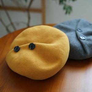 Fable Düğmesi Tomurcuk Kadın Bere Güney Kore Çok Yönlü Çocuk Sonbahar Ve Kış Sanatı Sekizgen Şapka BKI1
