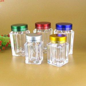 30ML، 60ML زجاجة كبسولة فارغة شفافة، شكل مربع، حبة زجاجات المسمار غطاء المسمار، التجميل التعبئة والتغليف زجاجة الكمية