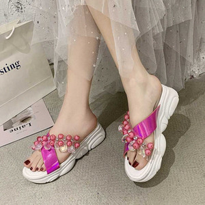 Rimocy Fashion Beaded Transparent PVC Sandals Women Summer 2020 Crystal Open Toe Platform Slides Woman Wedges Outdoor Slippers i8Fb#