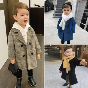 Baby Boy Girls Woolen Jacket Long Double Breasted Warm Infant Toddle Lapel Tweed Coat Spring Autumn Winter Baby Outwear Clothes 819 V2