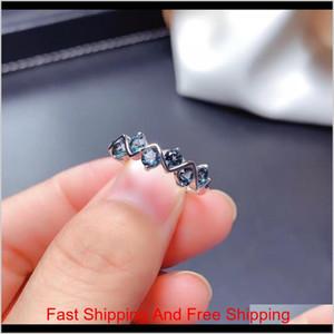 Weainy Heartfelt Stil Ring Natürliche London Blaue Topas Ring S925 Sterling Silber Einfache Beliebte Blau Edelstein Schmuck Dame Ring Y1124 Z BWXZG