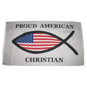 Proud American Christian Fish Flags 3X5FT 100D Polyester Fast Shipping Outdoor Vivid Color With Two Brass Grommets