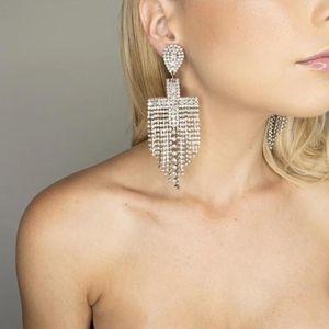 Ladies Jewelry Party Evening Dress Statement Claw Chain Earrings Luxury Shiny Rhinestone Dangle Earrings Hot Sale