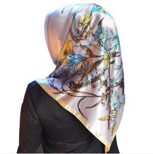 Scarves Fahsion Kerchief Silk Satin Hijab Scarf For Women Floral Print Head Printing Scarfs Female 90*90cm Shawls and Wraps Scarves HWC6045