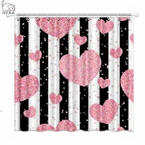 Nyaa rosa oro glitter cuori cuori tende da doccia strisce nere impermeabili tessuto poliestere tende da bagno per la decorazione domestica DHB4875