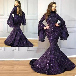 Luxury Mermaid Party Gown Dubai Glitter Sequins High Neck Robe De Soiree Chic Abendkleider Long Sleeves Custom Made Evening Gowns