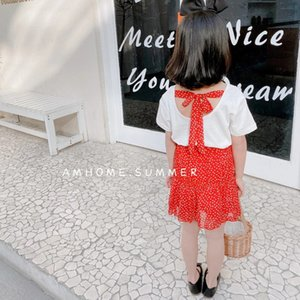 Girls T-Shirt Tops+Heart Dot Skirts Suits Summer 2021 Kids Boutique Clothing Korean 2-7T Girls Short Sleeves 2 PC Outfit Set