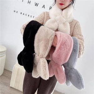 Scarves 2021 Winter Ins Wild Warm Imitation Lazy Scarf Women's Heart-shaped Plush Cross Comfortable Fashion Accessories
