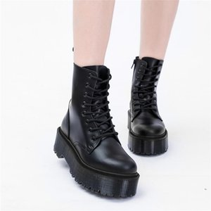 Yellow Women Ankle Leather shoes High Top Fashion Winter Warm Snow shoes Dr. Motorcycle Ankle Boots Couple Unisex Doc boots 42 201029