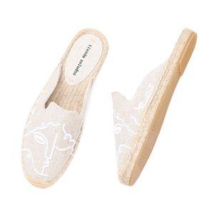 2021 Tienda Soludos Espadrilles Terlik Düz 2019 için Gerçek Özel Teklif Kenevir Yaz Kauçuk Baskı Kadın Ayakkabı Katır Pantufa