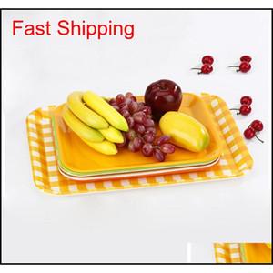 27*20cm 33*25cm Rectangular Breakfast Plate Plastic Tray Hotel Cake Fast Food Bread Fruit jllgFi dh_garden