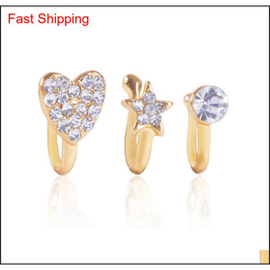 Clip On Nose Ring Piercing Jewelry Fashion Body Jewelry Diamond-shaped Heart-shaped New Nose, Non-porou qylrJV mj_fashion