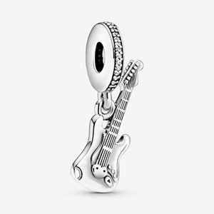 New Trendy 925 Sterling Silver Electric Guitar Charm Bead Fit Original Pandora Charms Bracelet Women Fine DIY Jewelry Gift