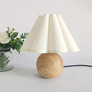 Table Lamps Wooden Bedside Lamp With Bulb 3 Way Dimmable Nightstand Round Fabric Flower Shade For Bedroom & Living Room