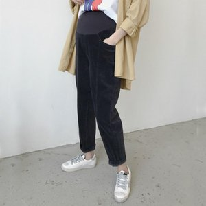 Maternity Bottoms Autumn Pregnant Women Casual Corduroy Warm Pants Elastic High Waist Trousers Pregnancy Thin