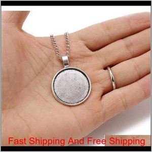 Wholesale Bronze 55Cm+5Cm Link Chain Necklace Alloy Base Tray Bezel Blank Pendant Necklaces For Handmade 25Mm Sqcoat E7Soo S5Bxa