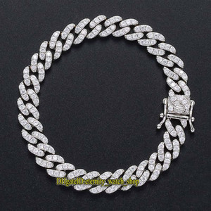 New Diamond Necklace in Europe and America 9mm Single Row CZ Diamond Iced Out Cuban Chain for Mens and Women Bracelet Hiphop Chain eternity