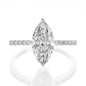 Luxury Jewelry Real 925 Sterling Silver Marquise Cut Large Moissanite Diamonds Gemstone Wedding Engagement Fine Jewelry Rings Gift Wholesale