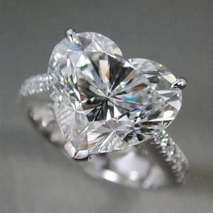 2021 NUEVO 925 plata 10x10mm Corazón Corte Sona Stone Mujer Senior Simulación Diamante Anillo de boda