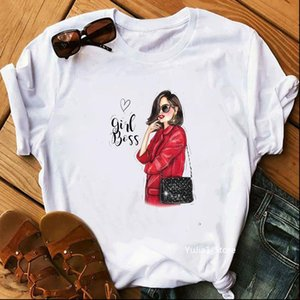 Summer Vogue Cartoon Sexy Lady Print Fashion T Shirt Women Hipster Streewear Graphic Tees Lovely Friends Tops