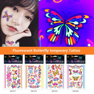 Luminous Lighting Butterfly Temporary Tattoo Sticker Waterproof Body Art Arm Leg Tattoo Stickers festival gift Health Beauty Product BF307